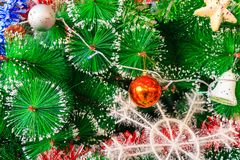 Close up of decorated Christmas tree Royalty Free Stock Photography