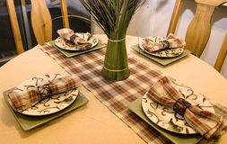 Close up on a Decorated Dinner Table Royalty Free Stock Images