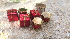 Close up of decorated gifts from top view. Close up of decoration gift boxes and drums from top view stock video footage
