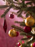 Close-up of decorations on a Christmas tree Royalty Free Stock Image