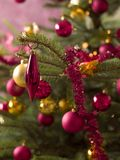 Close up of decorations on a Christmas tree Royalty Free Stock Photography