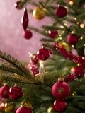 Close-up of decorations on a Christmas tree Stock Image