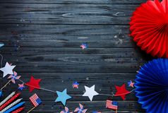 Free Close Up Decorations For 4th Of July Day Of American Independence, Flag, Candles, Straws. USA Holiday Decorations Stock Photography - 148094182