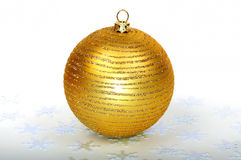 Close up decorative Christmas ball. On the table Stock Photo