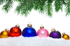 Close up of decorative Christmas balls and tree. Stock Photo