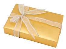Close Up Decorative Gold Gift Wrapping Stock Images