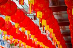 Close up of decorative lanterns scattered around Chinatown, Singapore. China`s New Year. Year of the Dog. Photos taken stock image