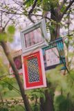 Close-up decorative photo frames hang on a tree branch royalty free stock photo