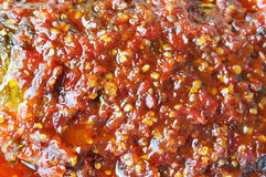 Close up of deep fried mango fish dressing chili sauce texture Royalty Free Stock Photography