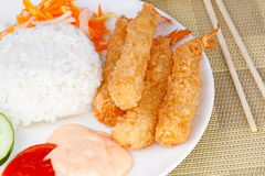 Close up Deep Fried Shrimps Ebi Tempura and Rice Asian Food. Deep Fried Shrimps Ebi Tempura and Rice Asian Food Stock Photo