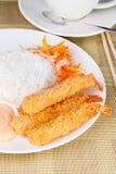 Close up Deep Fried Shrimps Ebi Tempura and Rice Asian Food. Deep Fried Shrimps Ebi Tempura and Rice Asian Food Royalty Free Stock Images