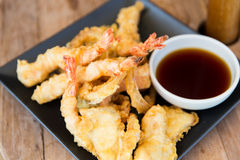 Close up of deep-fried shrimps and soy sauce Royalty Free Stock Photography