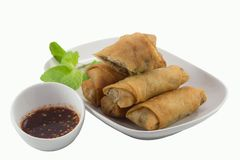 Close up of deep fried spring rolls Stock Photos