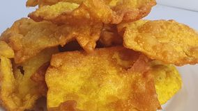 Close up of deep fried wontons served on a plate. Wonton the most popular dim sum food in Chinese restaurants.  stock video