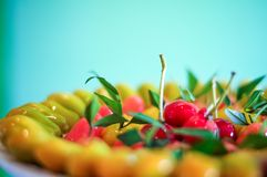 Close up deletable imitation fruits arrange on plate background, Look Choup Thai sweets Stock Images