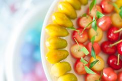 Close up deletable imitation fruits design arrange on plate background, Look Choup Thai sweets. Close up deletable imitation fruits, design arrange on plate Royalty Free Stock Images