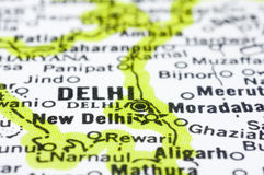 Close up of Delhi on map, India Stock Photography