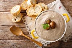 Close-up delicado da sopa da castanha em uma caçarola e no pão torrado Hori foto de stock