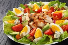 Close-up of delicious american cobb salad stock photography