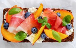 Close-up of delicious colorful open sandwich Stock Images