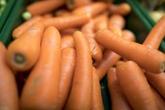 Close up of delicious and colourful vibrant orange carrots on a. Market stall in England, UK Royalty Free Stock Photo
