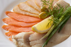 Close-up of delicious fish slicing with greenery Stock Photography