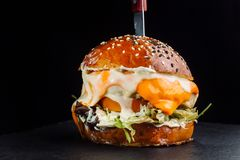 Close-up of delicious fresh home made burger with lettuce, cheese, onion and tomato. Lettuce leaves. Royalty Free Stock Image