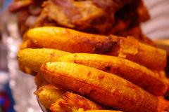 Close up of delicious fried banana, crispy coverage Royalty Free Stock Photo
