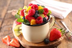 Delicious fruit salad. Close up on delicious fruit salad Stock Images