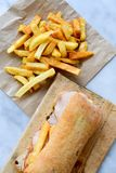 French fries and Ciabatta bread sandwich royalty free stock photos