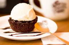 Close up of a delicious icecream on top of a brownie with a chocolate sauce in plate Royalty Free Stock Photo