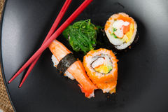 Close up the delicious Japanese sushi Royalty Free Stock Photo