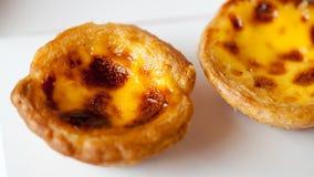 Close up delicious portuguese egg tart on white box Royalty Free Stock Image