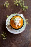Pureed tomato soup top view. Close up of delicious pureed tomato soup garnished with grated cheese and fresh rosemary Stock Photos