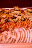 Close-up of a delicious roasted cooked sliced meat Stock Photos