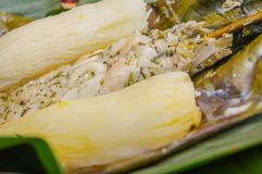Close up of delicious typical amazonia food, fish cooked in a leaf with yucca and plantain, served in a wooden plate Royalty Free Stock Image