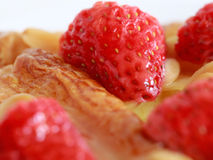 Close up delicius strawberry danish pastry Royalty Free Stock Photo