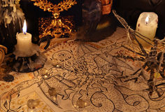 Close up of demon parchment and candles. Close up of demon parchment, magic objects and candles.  Halloween concept. Occult objects on table. There is no foreign Royalty Free Stock Photo