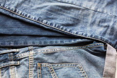 Close up of denim or jeans trousers Stock Photography