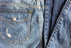 Close up of denim pants or jeans with pocket Royalty Free Stock Images