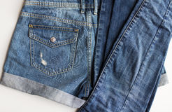 Close up of denim pants or jeans with pocket Stock Image