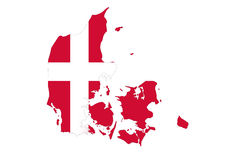 Close up on Denmark map on white background, no shadows Royalty Free Stock Photography