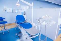 Close up of a dentists chair Royalty Free Stock Photos