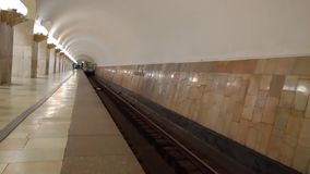 Departure train from the Moscow metro station Aviamotornaya stock footage