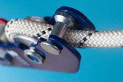 Close-up of descender on the rope Royalty Free Stock Photography