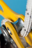 Close-up of descender on the rope Royalty Free Stock Photo