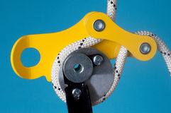 Close-up of descender on the rope Royalty Free Stock Image