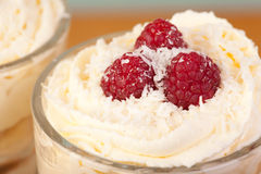 Close up desert with raspberries and cream Stock Photos
