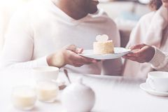 Close up of dessert being in both hands Stock Photography