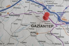 Destination port on map of turkey country. Close up destination port on map of turkey country stock photo